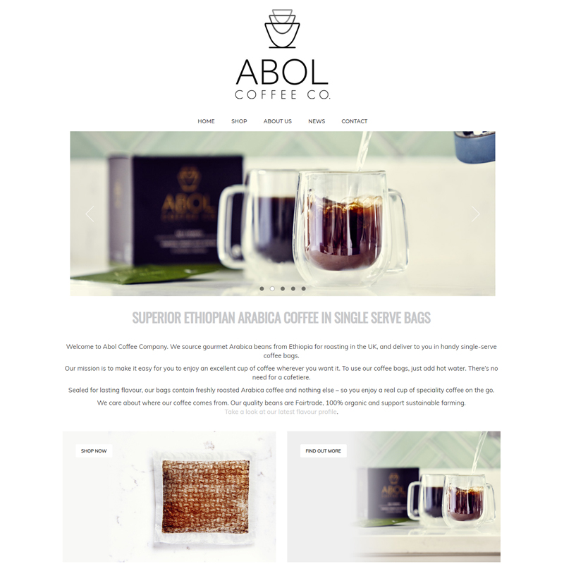 Web Design Work Portfolio, Web Design Agency Bath, London, Abol Coffee Co. website
