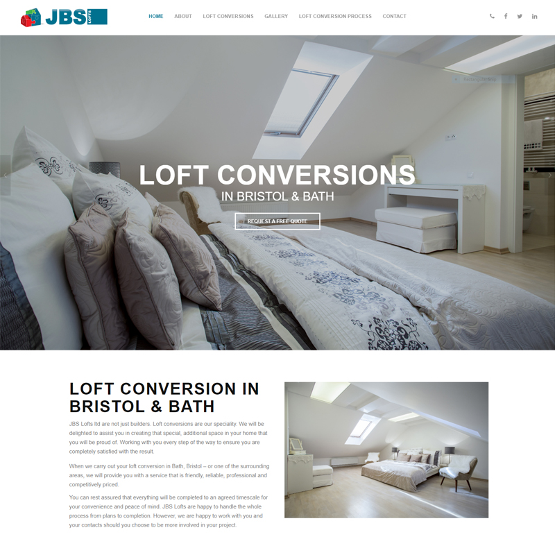 Web Design Work Portfolio, Web Design Agency Bath, London, JBS Lofts website