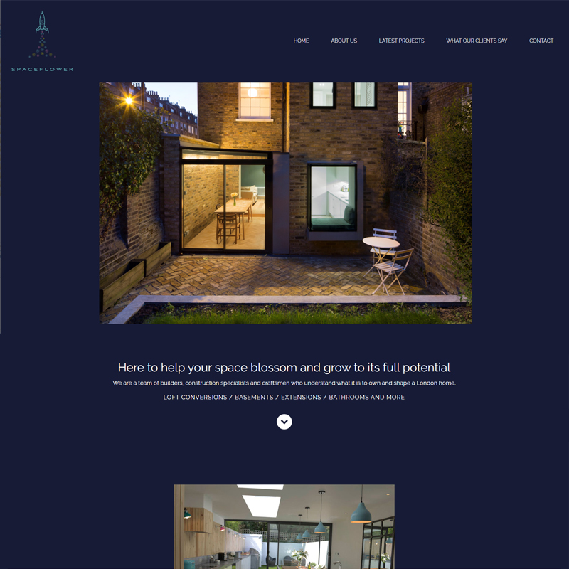 Web Design Work Portfolio, Web Design Agency Bath, London, Space Flower website
