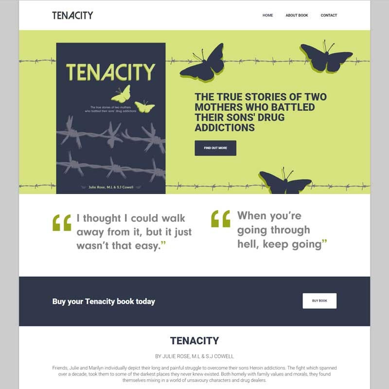 Web Design Work Portfolio, Web Design Agency Bath, London, Tenacity Book website