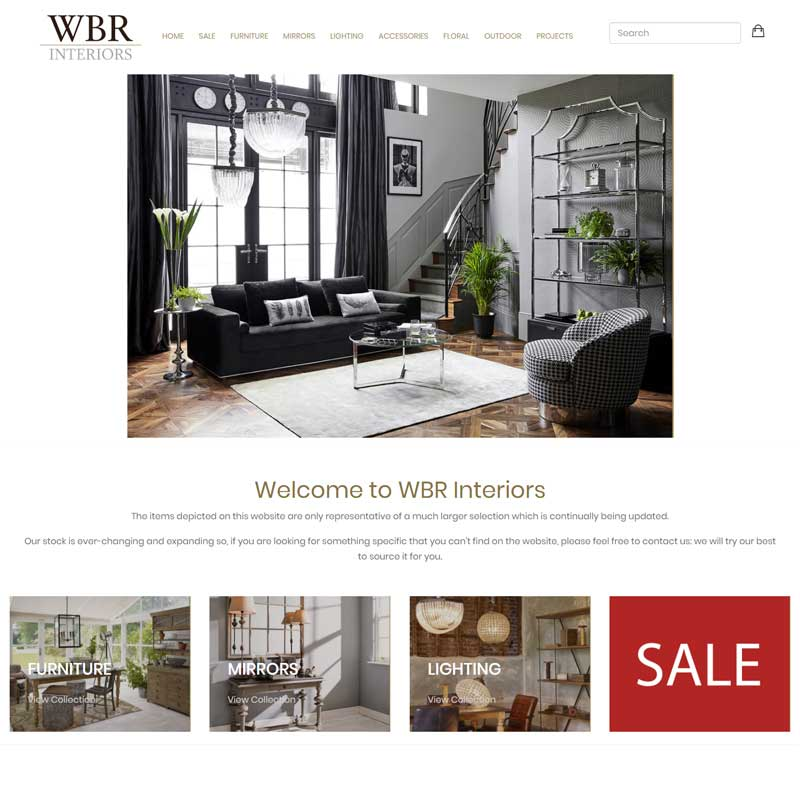 Web Design Work Portfolio, Web Design Agency Bath, London, WBR Interiors website