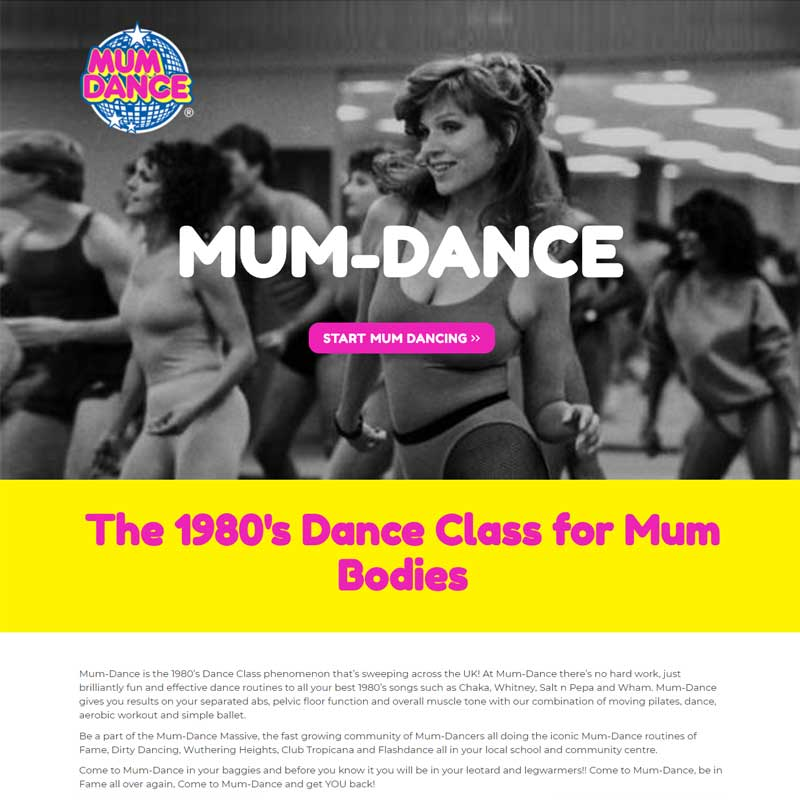 Web Design Work Portfolio, Web Design Agency Bath, London, Mum Dance website