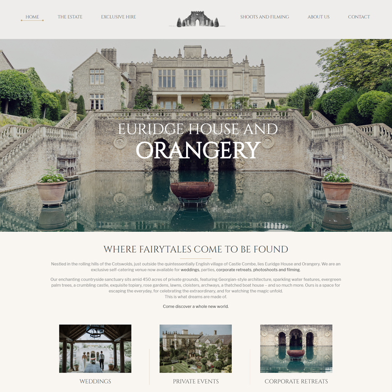 Web Design Work Portfolio, Web Design Agency Bath, London, Euridge Orangery Weddings website