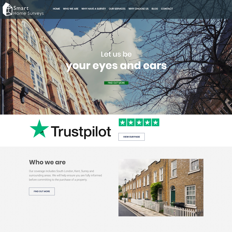 Web Design Work Portfolio, Web Design Agency Bath, London, Smart Home Surveys website