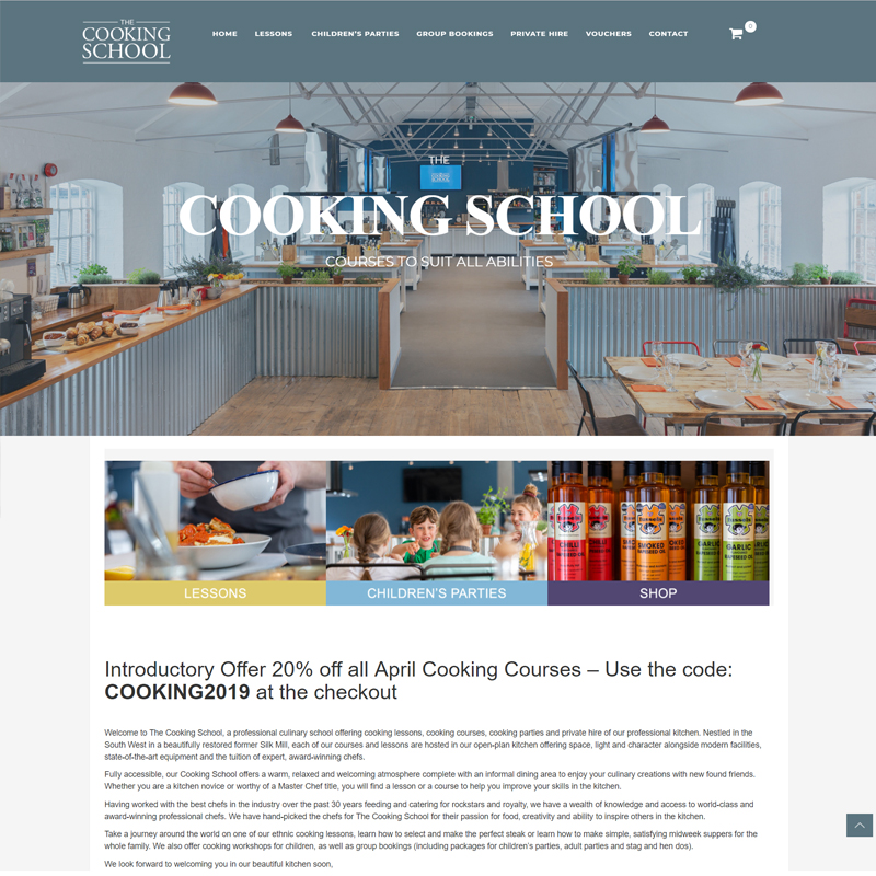 Web Design Work Portfolio, Web Design Agency Aldershot, The Cooking School website