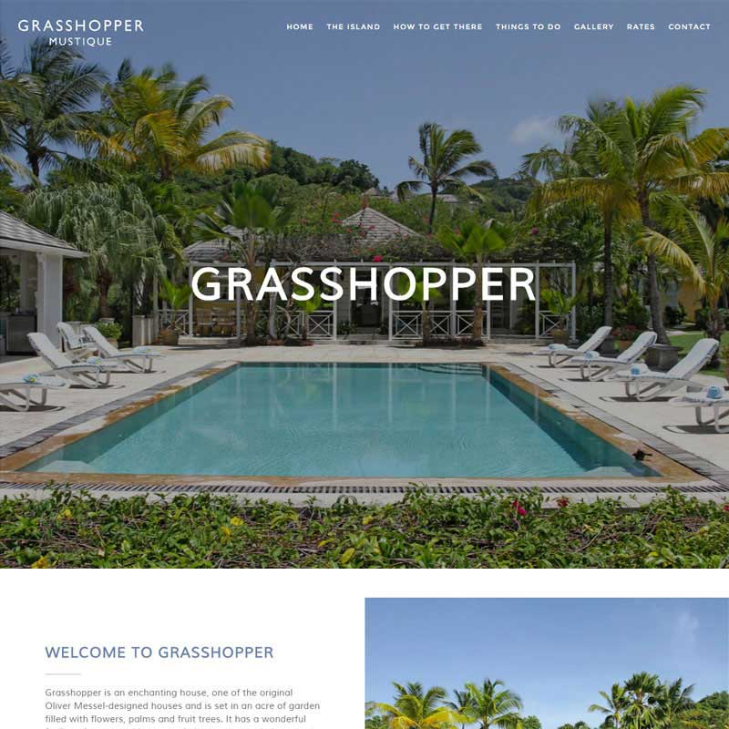 Web Design Work Portfolio, Web Design Agency Aldershot, Grasshopper Mustique website