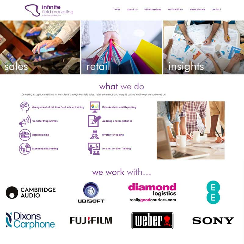 Web Design Work Portfolio, Web Design Agency Aldershot, Infinite Group website