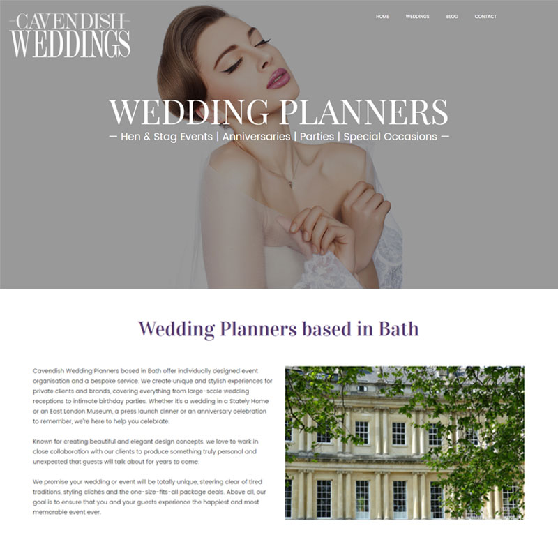 Web Design Work Portfolio, Web Design Agency Bath, London, Cavendish Weddings website