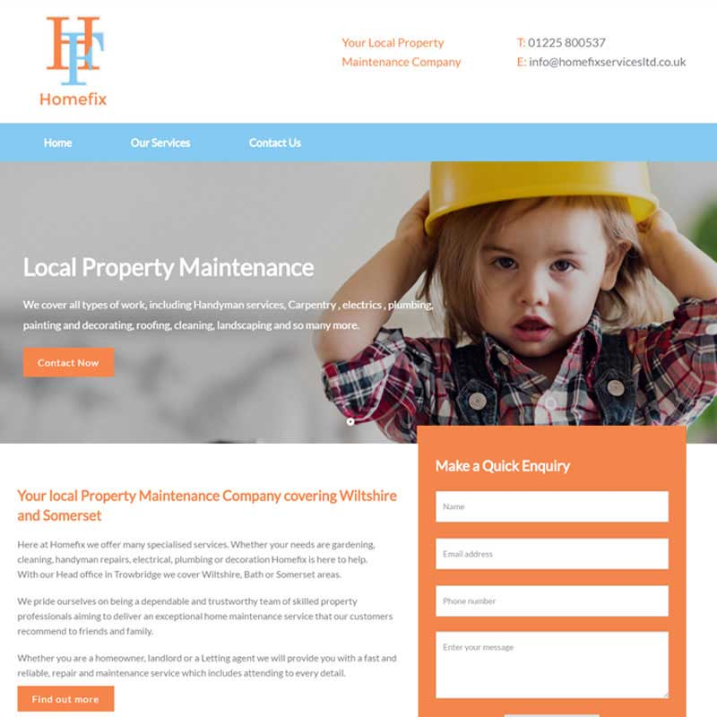 Web Design Work Portfolio, Web Design Agency Bath, London, Homefix Services website