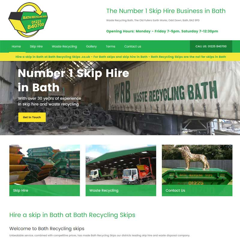 Web Design Work Portfolio, Web Design Agency Bath, London, Bath Recycling Skips website