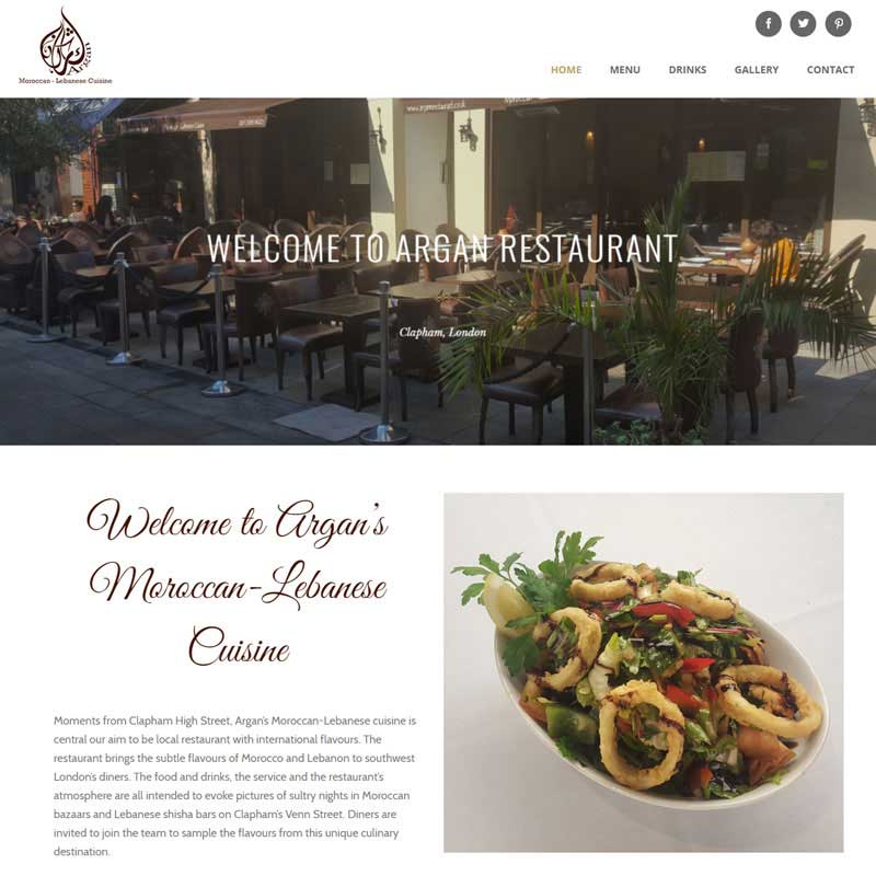 Web Design Work Portfolio, Web Design Agency Aldershot, Argan Restaurant website