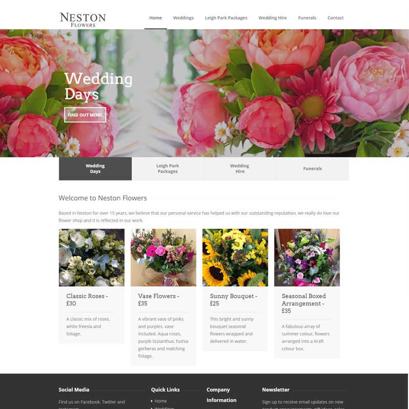 Web Design Work Portfolio, Web Design Agency Aldershot, Neston Flowers website