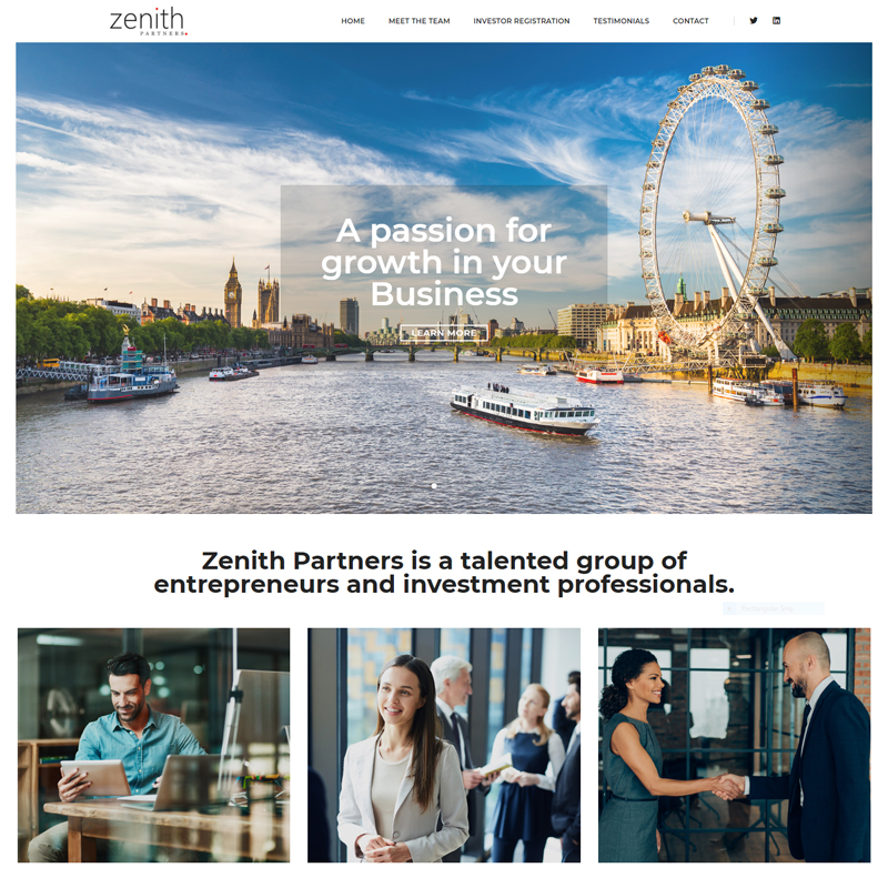 Web Design Work Portfolio, Web Design Agency Bath, London, Zenith Partners website